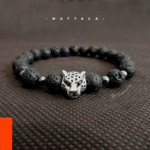 Pulsera Masculina Leopardo Silver Volcanico Acerina Pulseras Wattaca