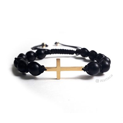 Pulsera Cruz Golden Onix Ajustable