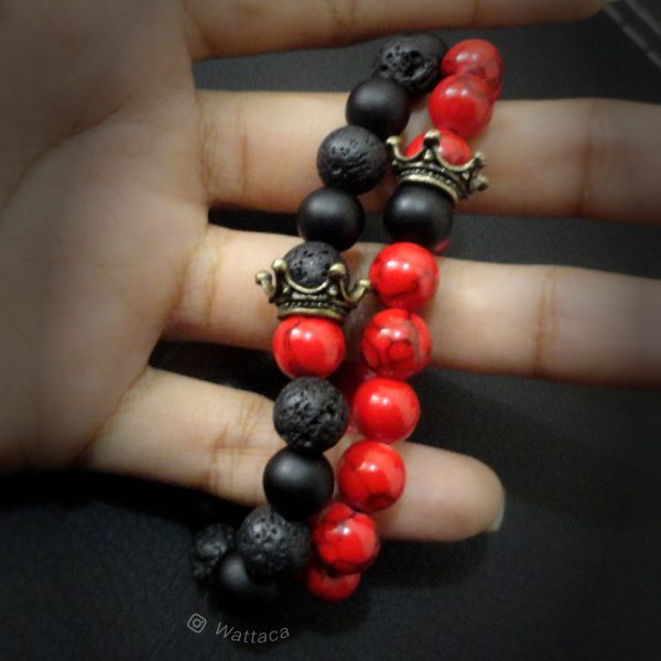 Pack Pulseras King Queen Bronce BlackRed