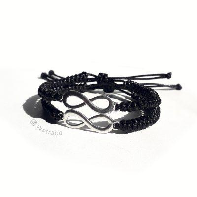 2160a0d3a133 Pack Pulseras de Infinitos Silver Snake Knot Black