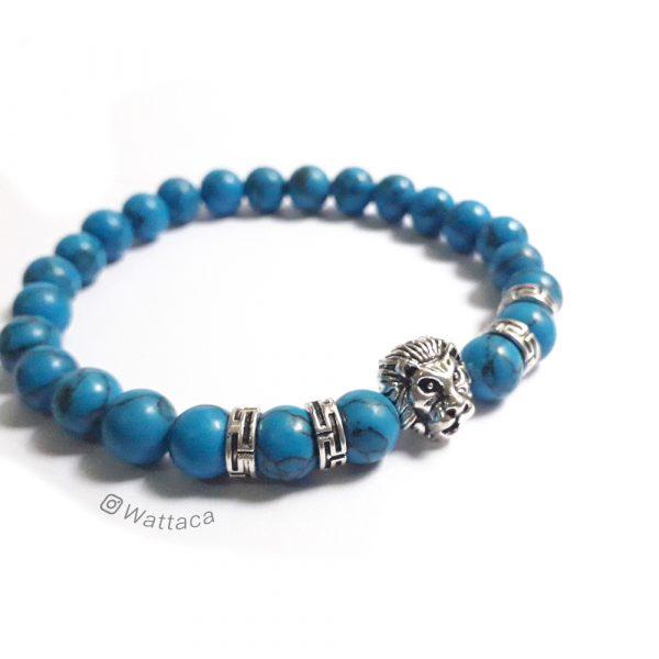 Pulsera León Silver Howlita Azul