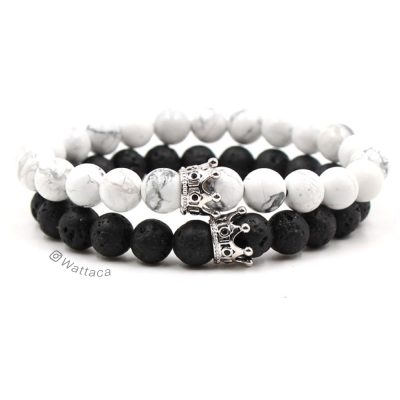 Pack Pulseras Parejas King and Queen BlackWhite Silver