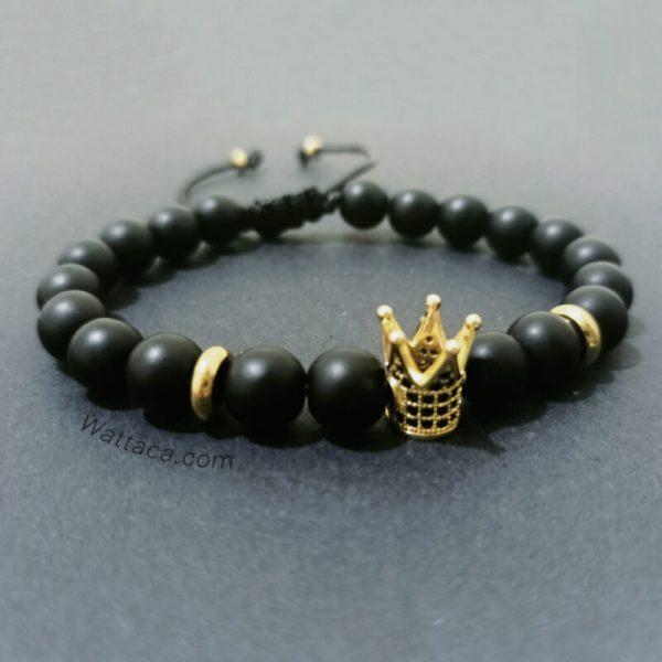 Pulsera Crown King Golden Onix
