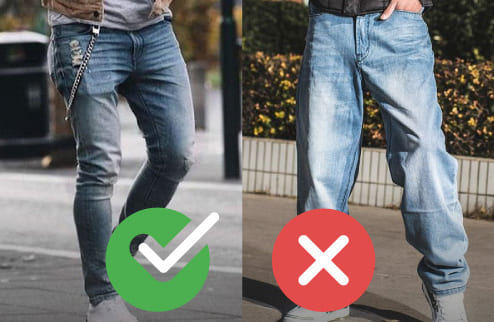 como lucir mejor hombre no pantalones anchos.
