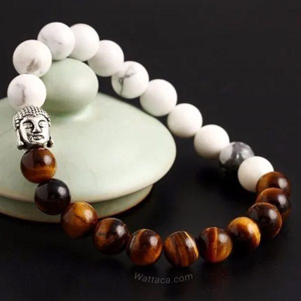 Pulsera Buda Ojo de Tigre y Howlita en Wattaca
