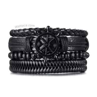 Pack Náutico pulseras cuero madera 4X