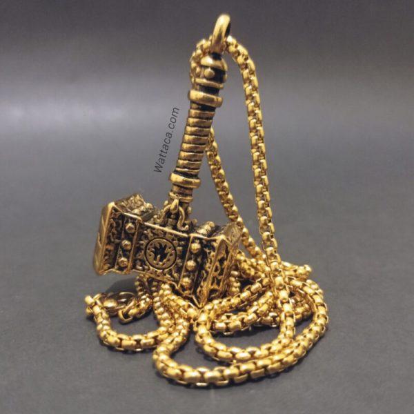 Collar Martillo Gold de Thor Acero Inoxidable