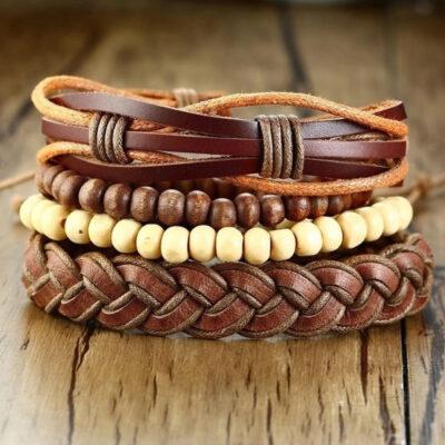 Pack Baltazar pulseras cuero madera 4X