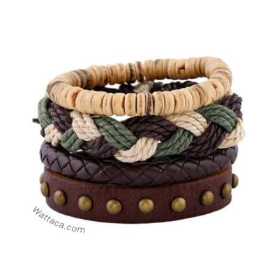 Pack Bosque pulseras cuero madera 4X